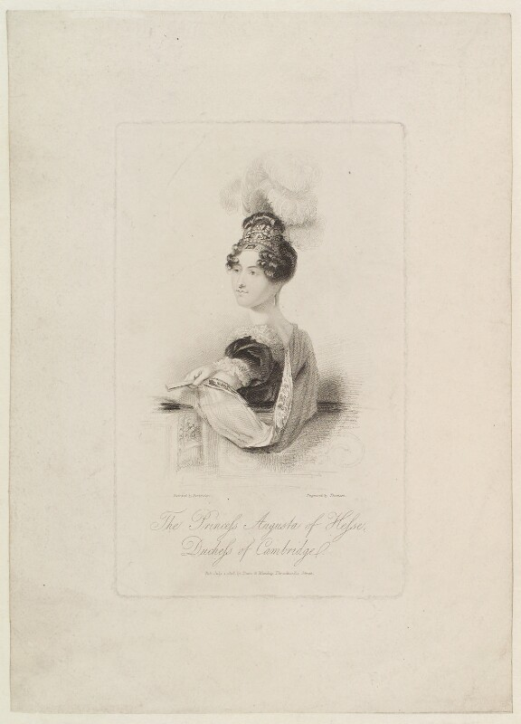 Princess Augusta Wilhelmina Louisa, Duchess of Cambridge, by James Thomson (Thompson), published by  Dean & Munday, after  John Partridge, published 1 July 1818 - NPG D16076 - © National Portrait Gallery, London