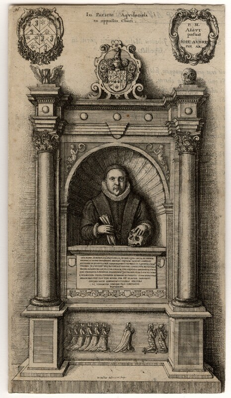 Monument to William Aubrey, by Wenceslaus Hollar, circa 1658 - NPG D1005 - © National Portrait Gallery, London