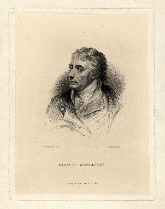 Francesco Bartolozzi, by Edward Scriven, after  Giovanni Vendramini, published 1832 - NPG D1022 - © National Portrait Gallery, London