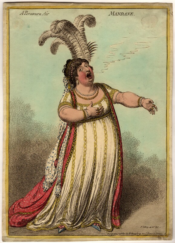 Elizabeth Billington (née Weichsel) ('A bravura air mandane'), by James Gillray, published by  Hannah Humphrey, published 22 December 1801 - NPG D1066 - © National Portrait Gallery, London