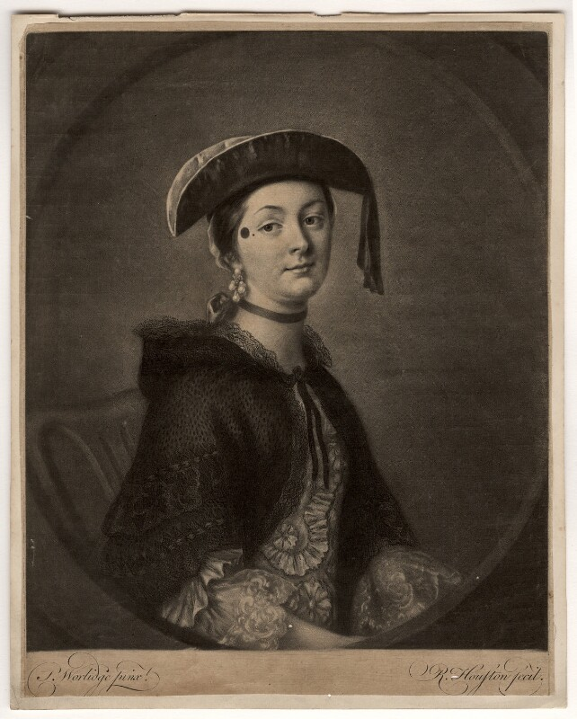 Mrs Brooks, by Richard Houston, after  Thomas Worlidge, mid 18th century - NPG D1115 - © National Portrait Gallery, London