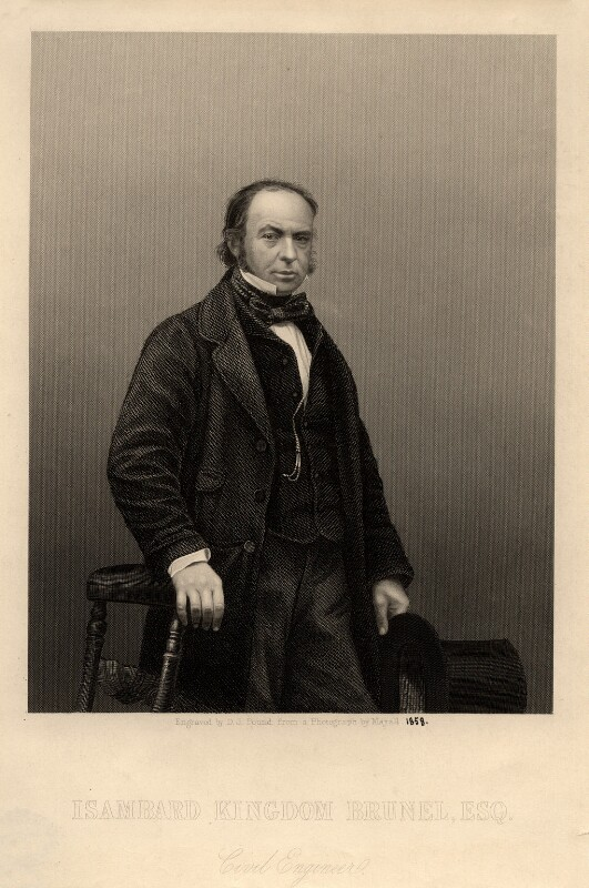 Isambard Kingdom Brunel, by Daniel John Pound, after a photograph by  John Jabez Edwin Mayall, published 1859 - NPG D1126 - © National Portrait Gallery, London