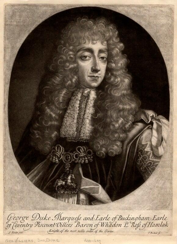George Villiers, 2nd Duke of Buckingham, by Isaac Beckett, after  Simon Verelst, 1681-1688 - NPG D1130 - © National Portrait Gallery, London