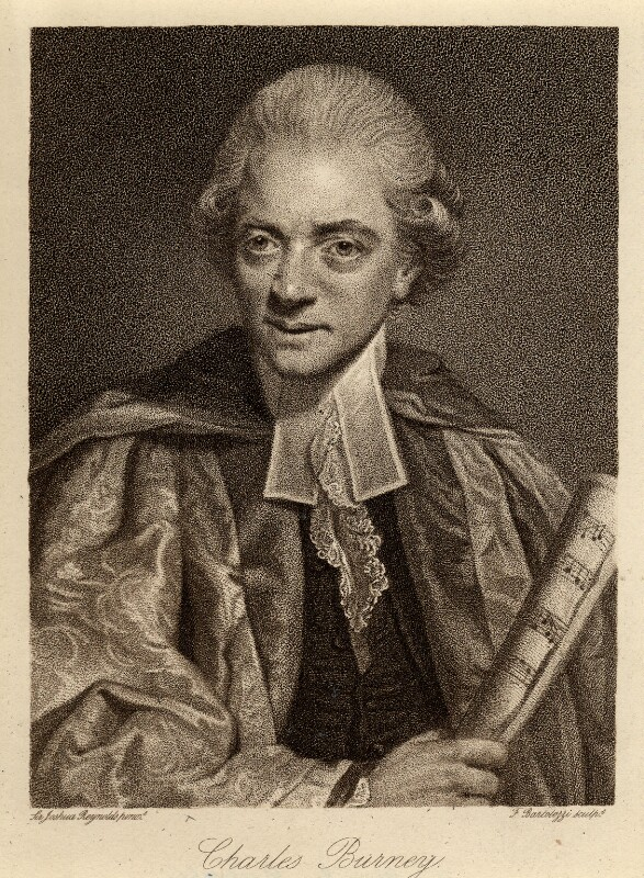 Charles Burney, by Francesco Bartolozzi, after  Sir Joshua Reynolds, published 1 April 1784 (1781) - NPG D1149 - © National Portrait Gallery, London