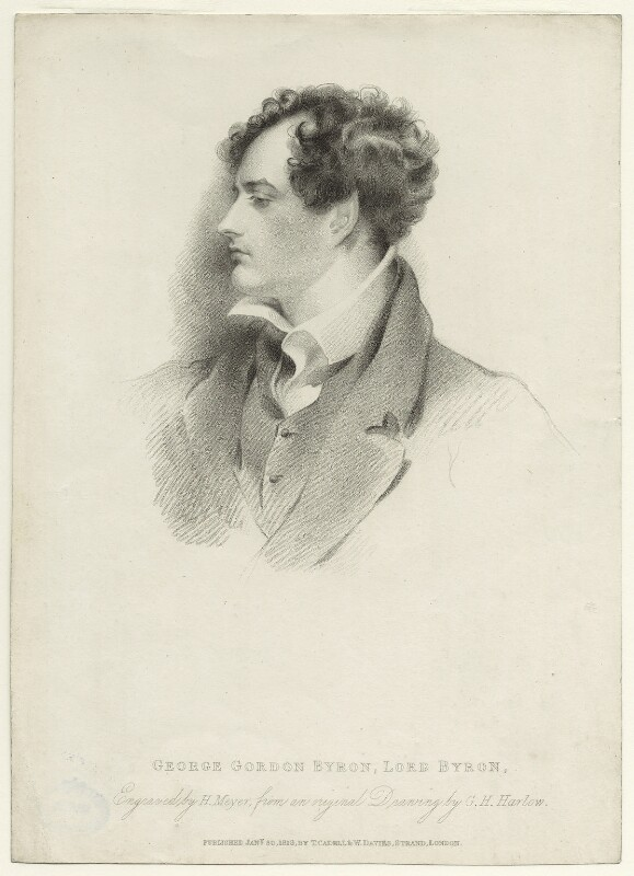 George Gordon Byron, 6th Baron Byron, by Henry Meyer, published by  T. Cadell & W. Davies, after  George Henry Harlow, published 30 January 1816 - NPG D1158 - © National Portrait Gallery, London