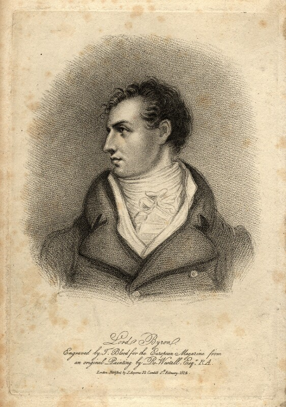 Lord Byron, by Thomas Blood, published by  James Asperne, after  Richard Westall, published 1814 - NPG D1159 - © National Portrait Gallery, London