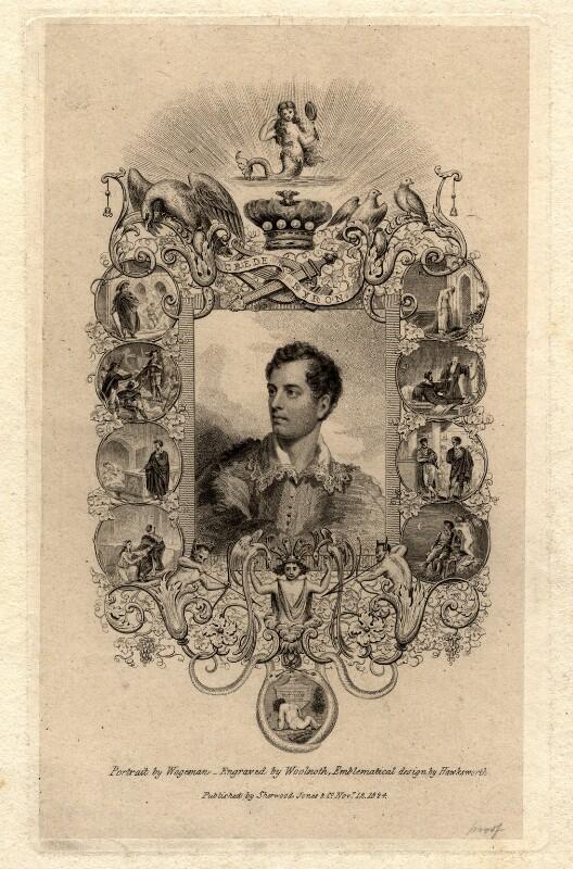 George Gordon Byron, 6th Baron Byron, by Thomas Woolnoth, after  Thomas Charles Wageman, published 1824 - NPG D1161 - © National Portrait Gallery, London