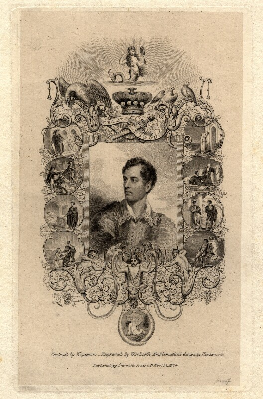 Lord Byron, by Thomas Woolnoth, after  Thomas Charles Wageman, published 1824 - NPG D1161 - © National Portrait Gallery, London
