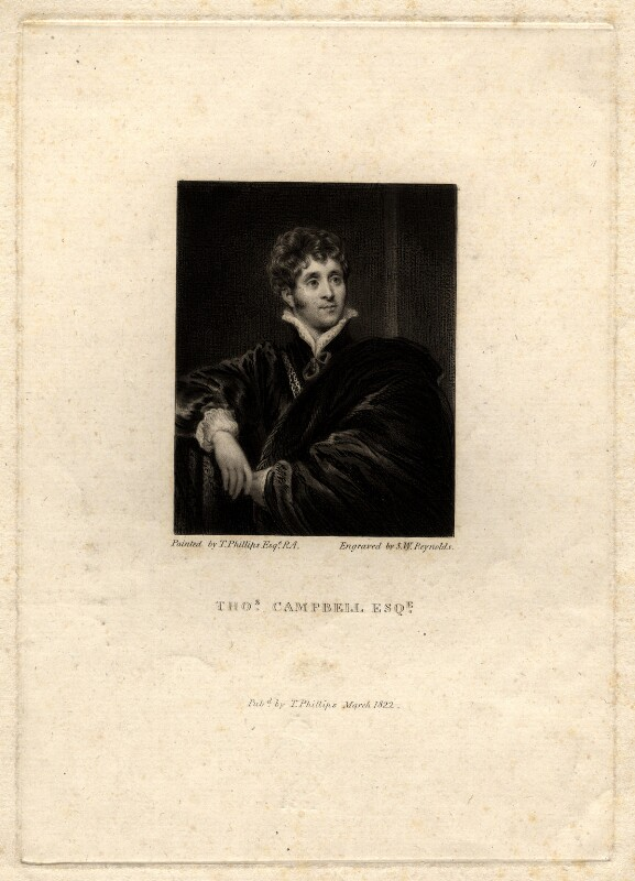 Thomas Campbell, by Samuel William Reynolds, after  Thomas Phillips, published 1822 (1818) - NPG D1204 - © National Portrait Gallery, London