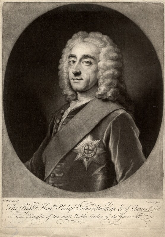 Philip Dormer Stanhope, 4th Earl of Chesterfield, by John Simon, after  William Hoare, (circa 1742) - NPG D1285 - © National Portrait Gallery, London