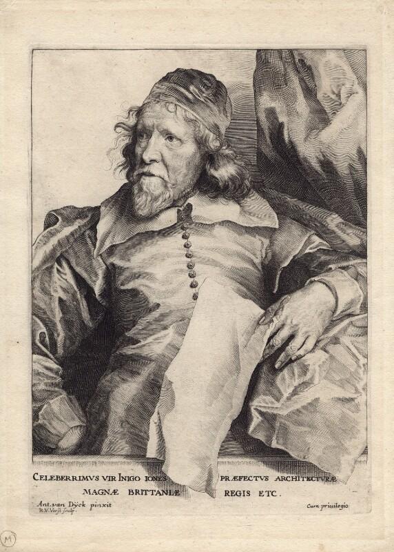 Inigo Jones, by Robert van Voerst, after  Sir Anthony van Dyck, 1635 (circa 1632-1635) - NPG D1312 - © National Portrait Gallery, London