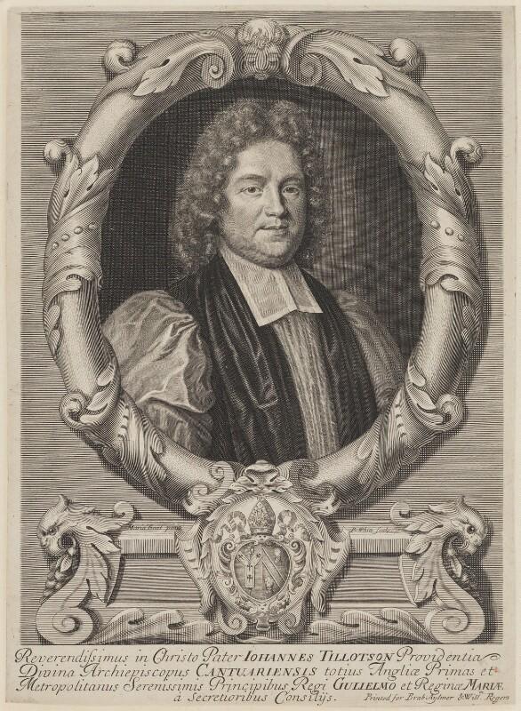 John Tillotson, by Robert White, published by  Brabazon Aylmer, published by  William Rogers, after  Mary Beale, circa 1692 - NPG D1341 - © National Portrait Gallery, London