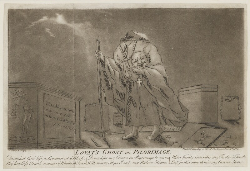 Simon Fraser, 11th Baron Lovat ('Lovat's Ghost on Pilgrimage'), by Samuel Ireland, published 15 June 1747 - NPG D1346 - © National Portrait Gallery, London