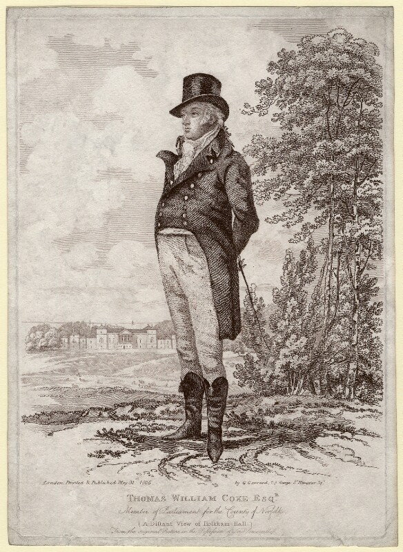Thomas William Coke, 1st Earl of Leicester of Holkham seen in front of Holkham Hall, by and published by George Garrard, published 31 May 1806 - NPG D1376 - © National Portrait Gallery, London