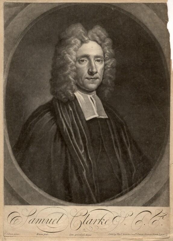 Samuel Clarke, by John Simon, after  Thomas Gibson, early 18th century - NPG D1459 - © National Portrait Gallery, London