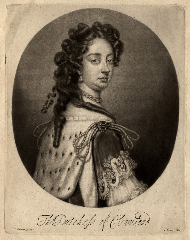 Barbara Palmer (née Villiers), Duchess of Cleveland, by Isaac Beckett, published by  John Smith, after  Sir Godfrey Kneller, Bt, circa 1681-1688 - NPG D1473 - © National Portrait Gallery, London