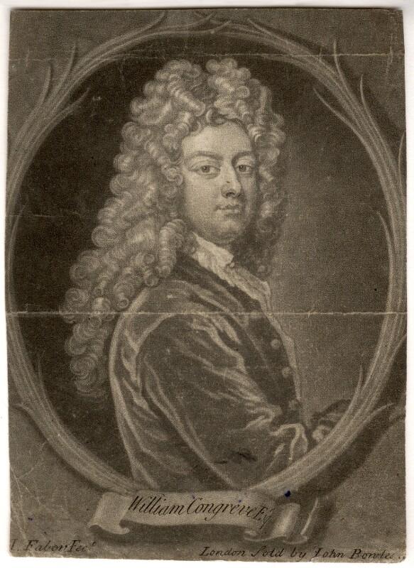 William Congreve, by John Faber Jr, after  Sir Godfrey Kneller, Bt, 1733 (1709) - NPG D1516 - © National Portrait Gallery, London