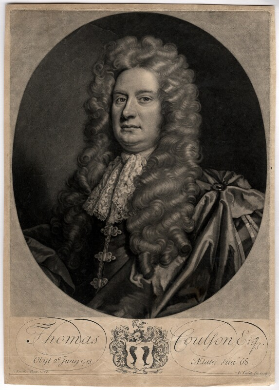 Thomas Coulson, by John Smith, after  Sir Godfrey Kneller, Bt, 1714 (1688) - NPG D1529 - © National Portrait Gallery, London