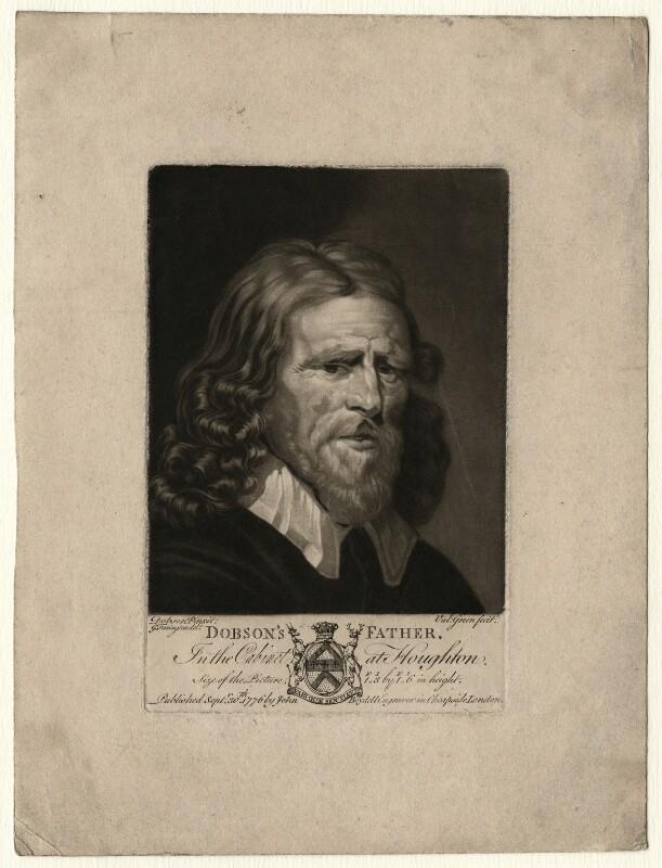 Abraham van der Doort (inscribed 'Dobson's Father'), by Valentine Green, possibly after  William Dobson, published 1776 - NPG D1644 - © National Portrait Gallery, London