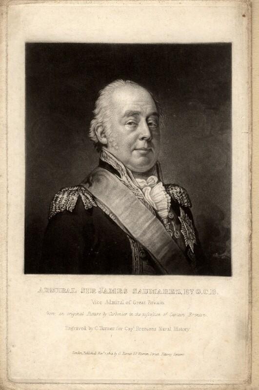 James Saumarez, 1st Baron de Saumarez, by Charles Turner, after  Carbonier, published 1823 - NPG D1746 - © National Portrait Gallery, London