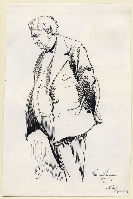 Thomas Alva Edison, by Harry Furniss, 1912-1914 - NPG D175 - © National Portrait Gallery, London