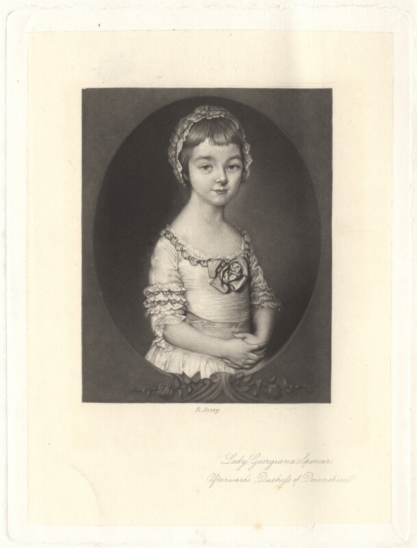 Georgiana Cavendish (née Spencer), Duchess of Devonshire, by Richard Josey, after  Thomas Gainsborough, published 1877 - NPG D1753 - © National Portrait Gallery, London