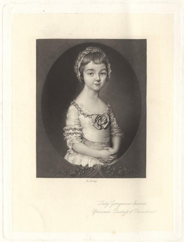 Georgiana Cavendish (née Spencer), Duchess of Devonshire, by Richard Josey, after  Thomas Gainsborough, published 1877 - NPG D1753 - © National Portrait Gallery, London