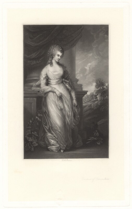 Georgiana Cavendish (née Spencer), Duchess of Devonshire, by Robert Bowyer Parkes, after  Thomas Gainsborough, published 1870 - NPG D1755 - © National Portrait Gallery, London