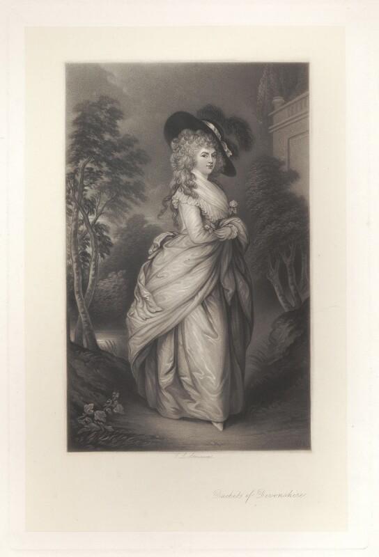 Georgiana Cavendish (née Spencer), Duchess of Devonshire, by Thomas Lewis Atkinson, after  Thomas Gainsborough, published 1870 - NPG D1756 - © National Portrait Gallery, London