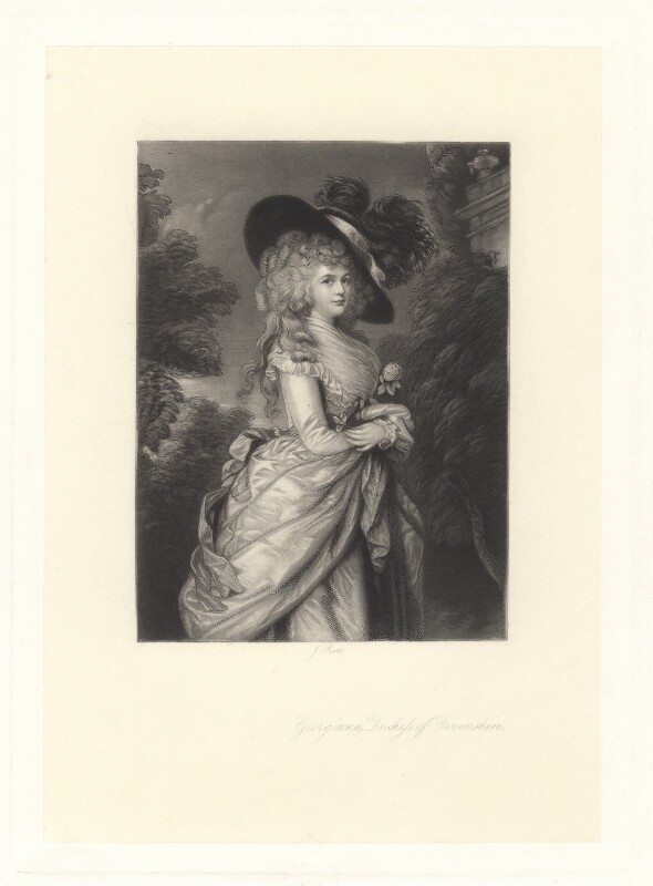 Georgiana Cavendish (née Spencer), Duchess of Devonshire, by James Scott, after  Thomas Gainsborough, published 1871 - NPG D1757 - © National Portrait Gallery, London