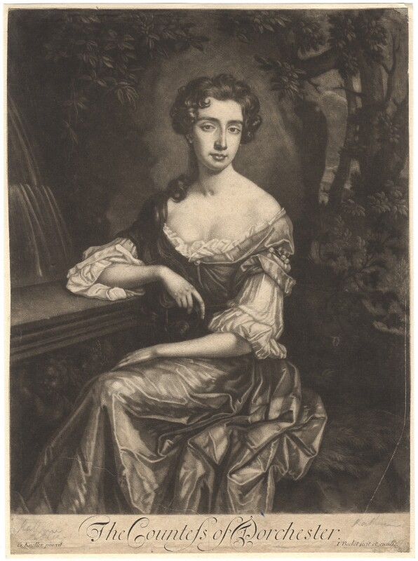 Catherine Sedley, Countess of Dorchester, by Isaac Beckett, after  Sir Godfrey Kneller, Bt, 1681-1688 - NPG D1768 - © National Portrait Gallery, London