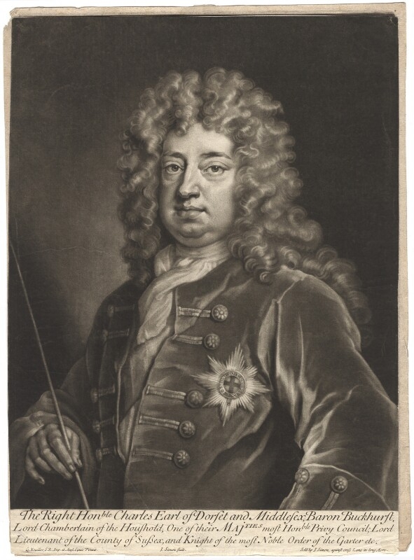 Charles Sackville, 6th Earl of Dorset, by John Simon, after  Sir Godfrey Kneller, Bt, 1692 or after - NPG D1773 - © National Portrait Gallery, London