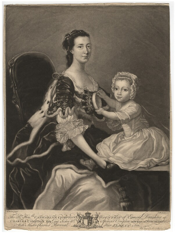 Catherine Perceval (née Compton), Countess of Egmont; Charles George Perceval, 2nd Baron Arden, by James Macardell, after  Thomas Hudson, published 1765 - NPG D1829 - © National Portrait Gallery, London