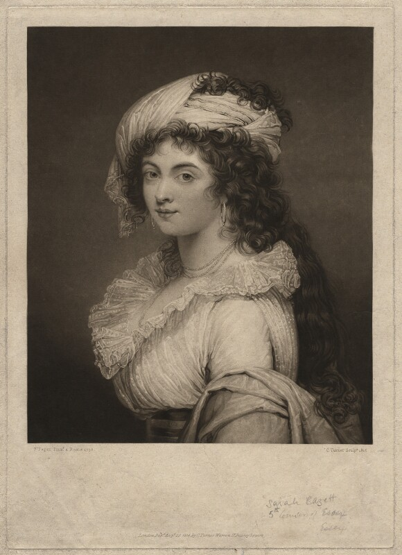 Sarah Capell-Coningsby (née Bazett), Countess of Essex, by and published by Charles Turner, after  Robert Fagan, 1816 (1792) - NPG D1839 - © National Portrait Gallery, London