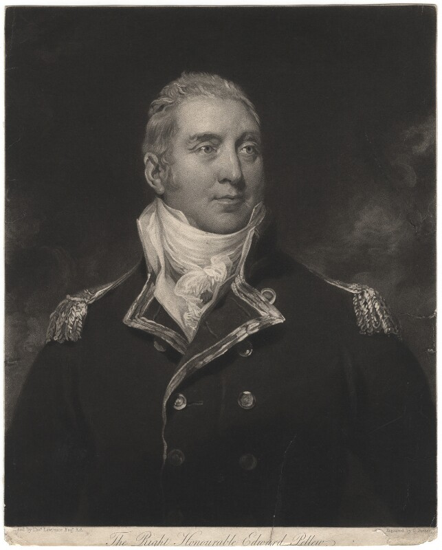 Edward Pellew, 1st Viscount Exmouth, by Charles Turner, after  Sir Thomas Lawrence, published 12 October 1815 - NPG D1893 - © National Portrait Gallery, London