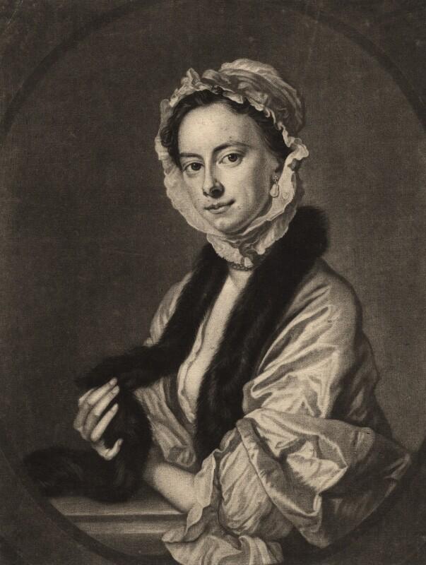 Mrs Faber, by John Faber Jr, after  Thomas Hudson, mid 18th century - NPG D1897 - © National Portrait Gallery, London