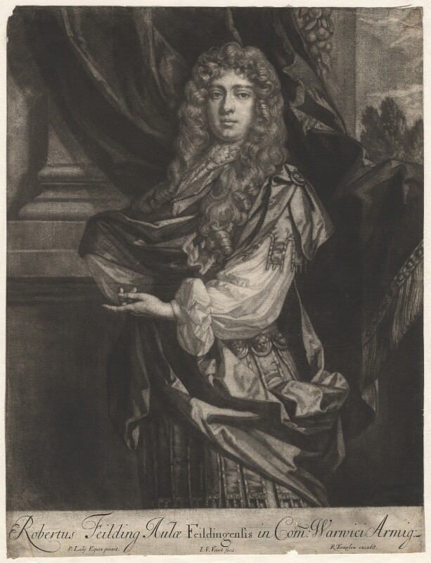Robert ('Beau') Feilding, by Jan van der Vaart, published by  Richard Tompson, after  Sir Peter Lely, 1678-1679 - NPG D1906 - © National Portrait Gallery, London