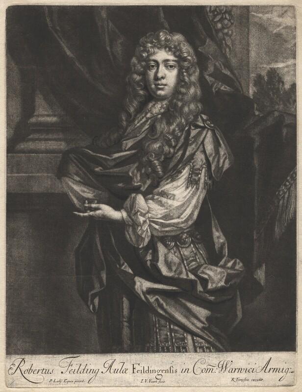 Robert ('Beau') Feilding, by Jan van der Vaart, published by  Richard Tompson, after  Sir Peter Lely, 1678-1679 - NPG D1907 - © National Portrait Gallery, London