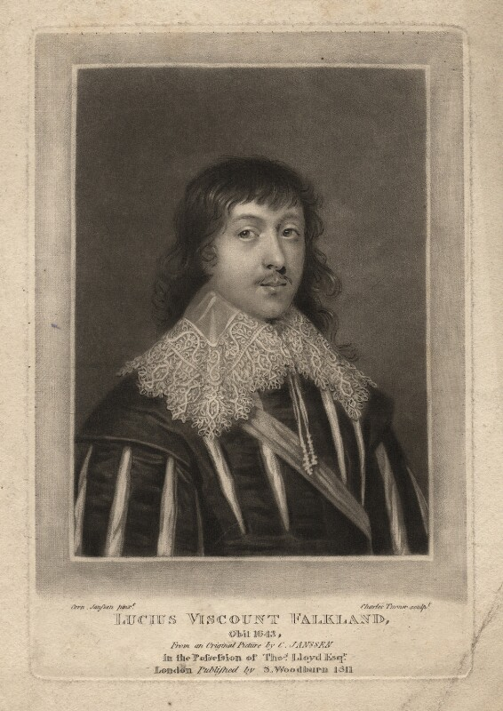Lucius Cary, 2nd Viscount Falkland, by Charles Turner, after  Cornelius Johnson, published 1811 - NPG D1926 - © National Portrait Gallery, London