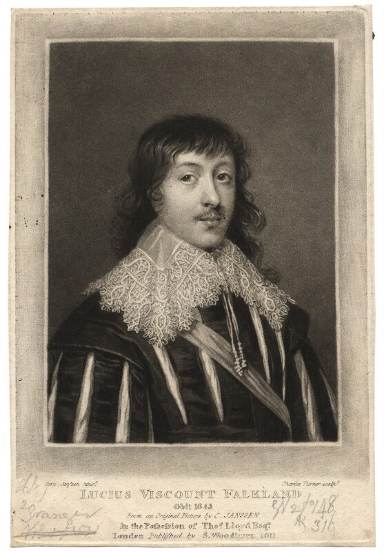 Lucius Cary, 2nd Viscount Falkland, by Charles Turner, after  Cornelius Johnson, published 1811 - NPG D1927 - © National Portrait Gallery, London