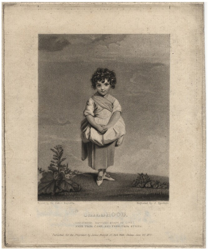Lady Gertrude Fitzpatrick ('Childhood'), by J. Sanders, published by  James Bulcock, after  Sir Joshua Reynolds, published 1830 (1779-1780) - NPG D1960 - © National Portrait Gallery, London