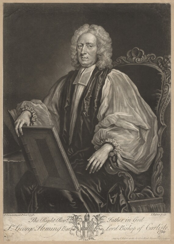 Sir George Fleming, 2nd Bt, by and sold by John Faber Jr, after  John Vanderbank, (1738) - NPG D1969 - © National Portrait Gallery, London