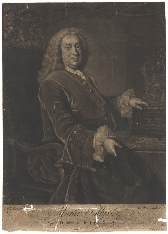 Martin Folkes, by James Macardell, after  Thomas Hudson, late 1740s-1750s - NPG D1978 - © National Portrait Gallery, London