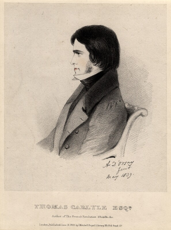 Thomas Carlyle, by Richard James Lane, published by  John Mitchell, after  Alfred, Count D'Orsay, published 18 June 1839 (May 1839) - NPG D2020 - © National Portrait Gallery, London