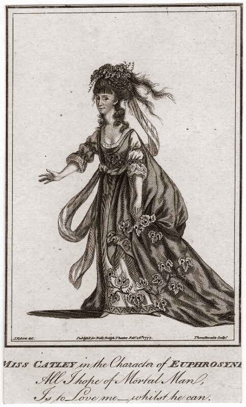 Ann Catley as Euphrosyne in Milton's 'Comus', by John Thornthwaite, published by  John Bell, after  James Roberts, published 1777 - NPG D2032 - © National Portrait Gallery, London