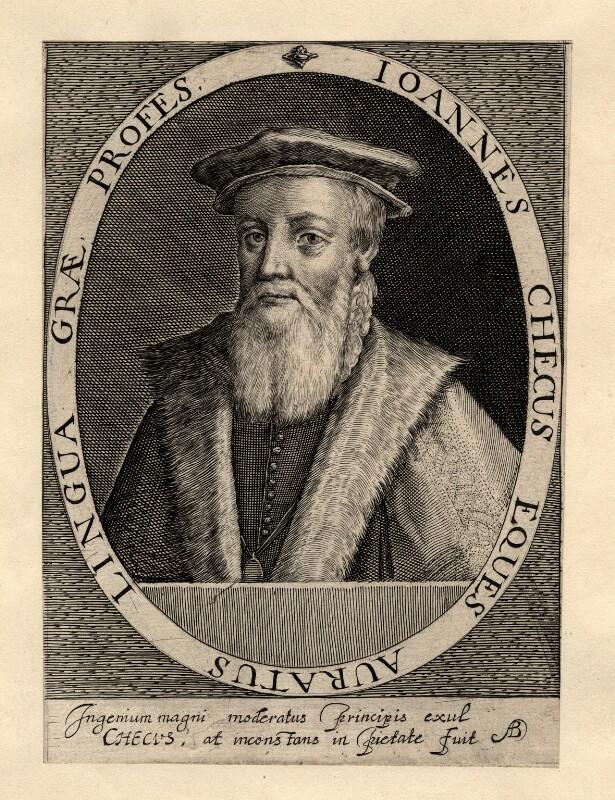 Sir John Cheke, by Magdalena de Passe, or by  Willem de Passe, published 1620 - NPG D2060 - © National Portrait Gallery, London