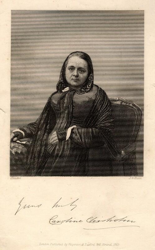 Caroline Chisholm (née Jones), by J.B. Hunt, published by  Rogerson & Tuxford, after  Antoine Claudet, published 1853 - NPG D2069 - © National Portrait Gallery, London