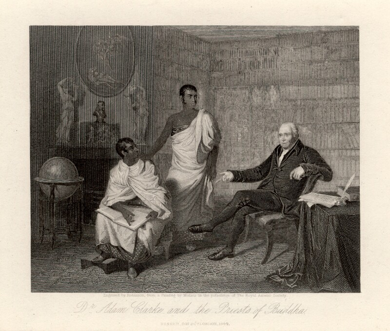 Dr Adam Clarke and the Priests of Buddha, probably by John Henry Robinson, published by  Fisher Son & Co, after  Alexander Mosses, published 1844 (exhibited 1820) - NPG D2083 - © National Portrait Gallery, London