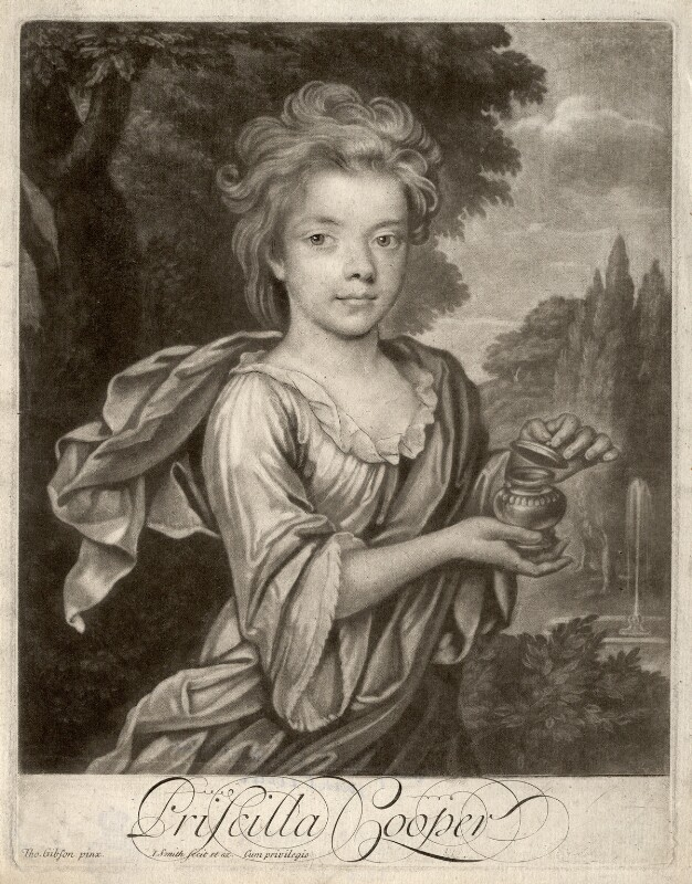 Priscilla Cooper, by John Simon, after  Thomas Gibson, early 18th century - NPG D2209 - © National Portrait Gallery, London