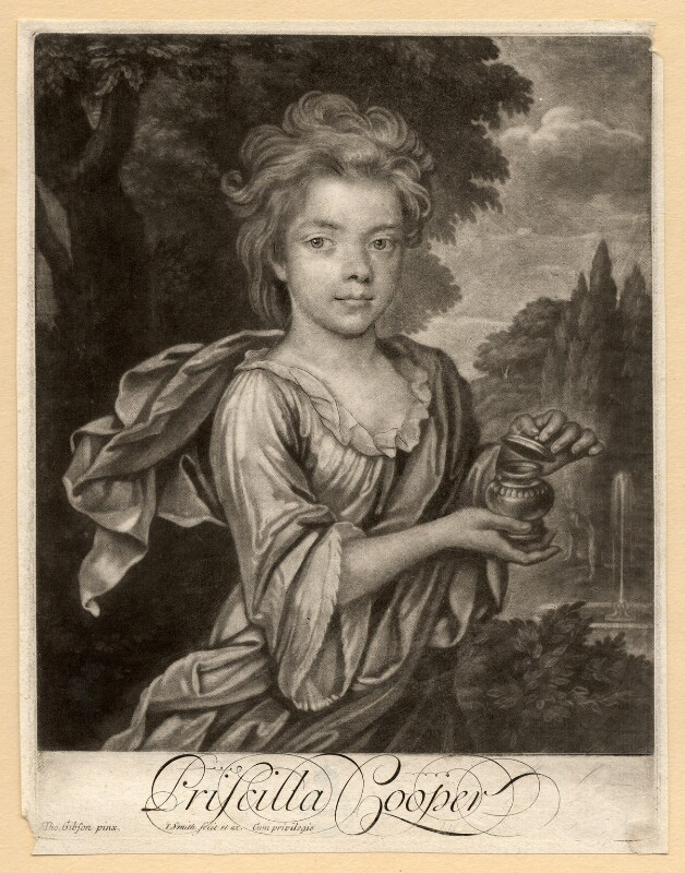 Priscilla Cooper, by John Simon, after  Thomas Gibson, early 18th century - NPG D2210 - © National Portrait Gallery, London